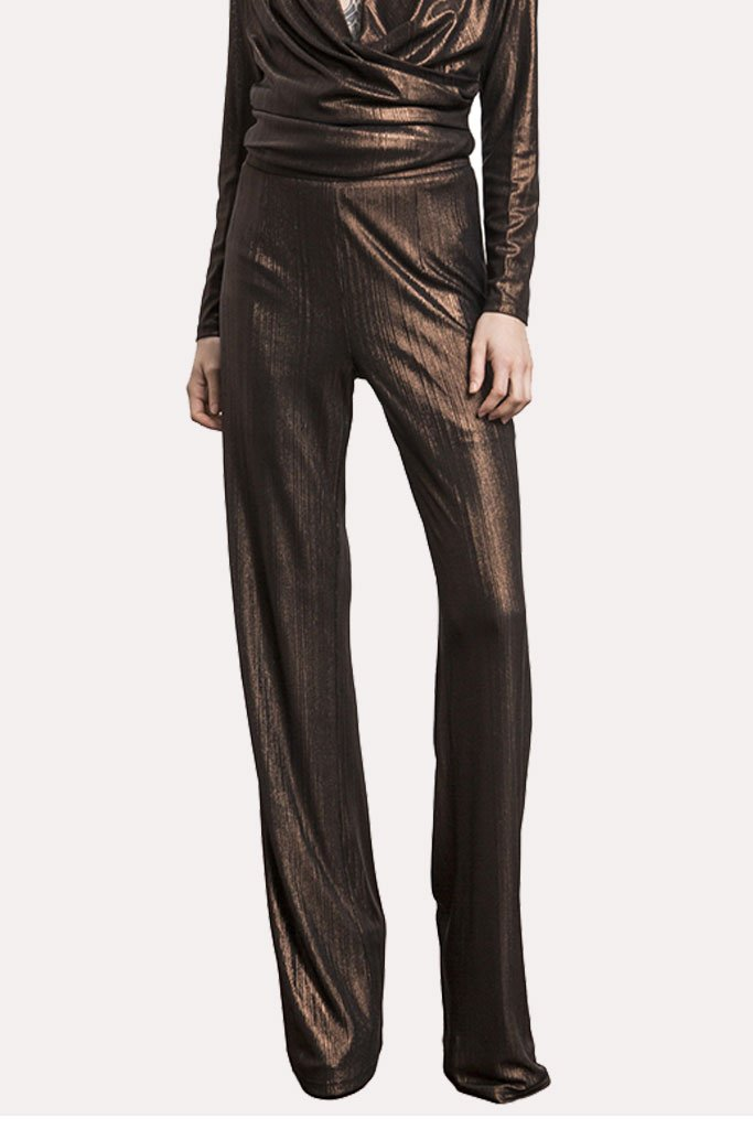 Wyldr Standards Metallic Textured Palazzo Trousers