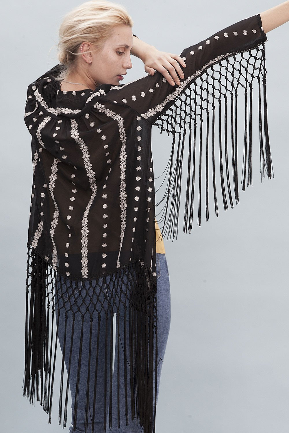 Shop Goldie Kimono Goldie Traveller Embroidered Black Kimono Jacket With Fringing Second Thread