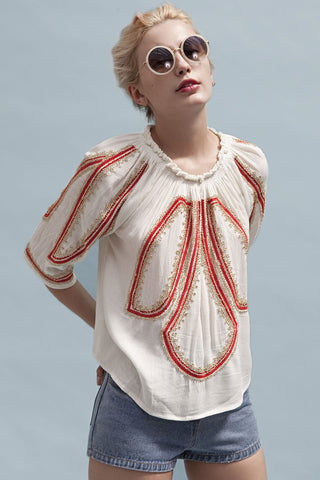 Shop Goldie Top Goldie Rival Cream Boho Top With Embroidery and Beading Second Thread