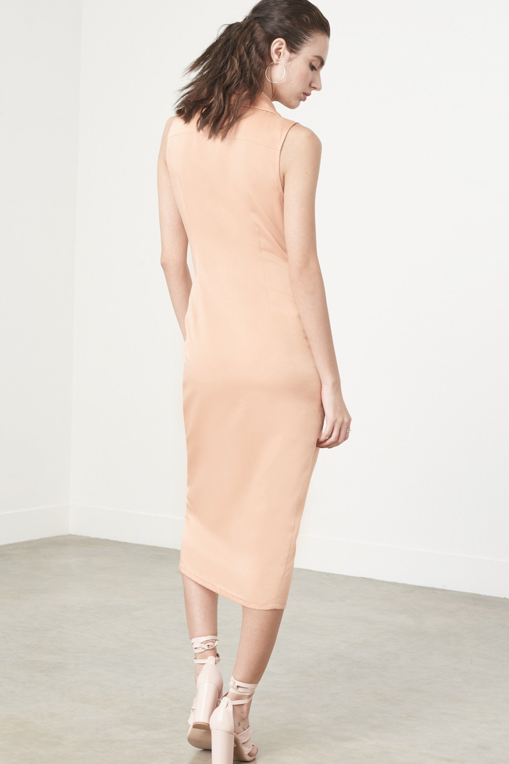 Shop Lavish Alice Dress Lavish Alice Knotted Tux Dress In Apricot Satin Second Thread