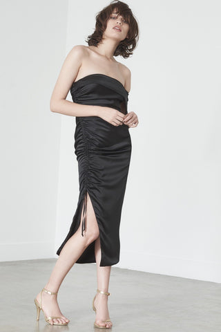 Shop Lavish Alice Dress Lavish Alice Off The Shoulder Drawcord Dress In Black Satin Second Thread
