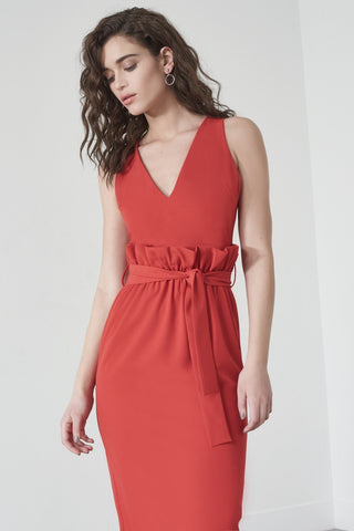 Shop Lavish Alice Dress Lavish Alice Paperbag Waist Midi Dress In Red Second Thread