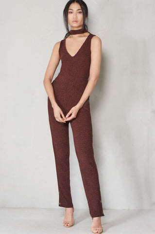 Shop Lavish Alice Jumpsuit Lavish Alice Rib Knit Keyhole Popper Split Leg Jumpsuit Second Thread