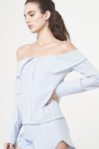 Shop Lavish Alice Shirt Lavish Alice Bandeau Shirt in White And Blue Pinstripe Cotton Second Thread