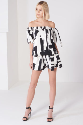 Shop Lavish Alice Shorts Lavish Alice Monochrome Brush Print Tie Shorts Second Thread