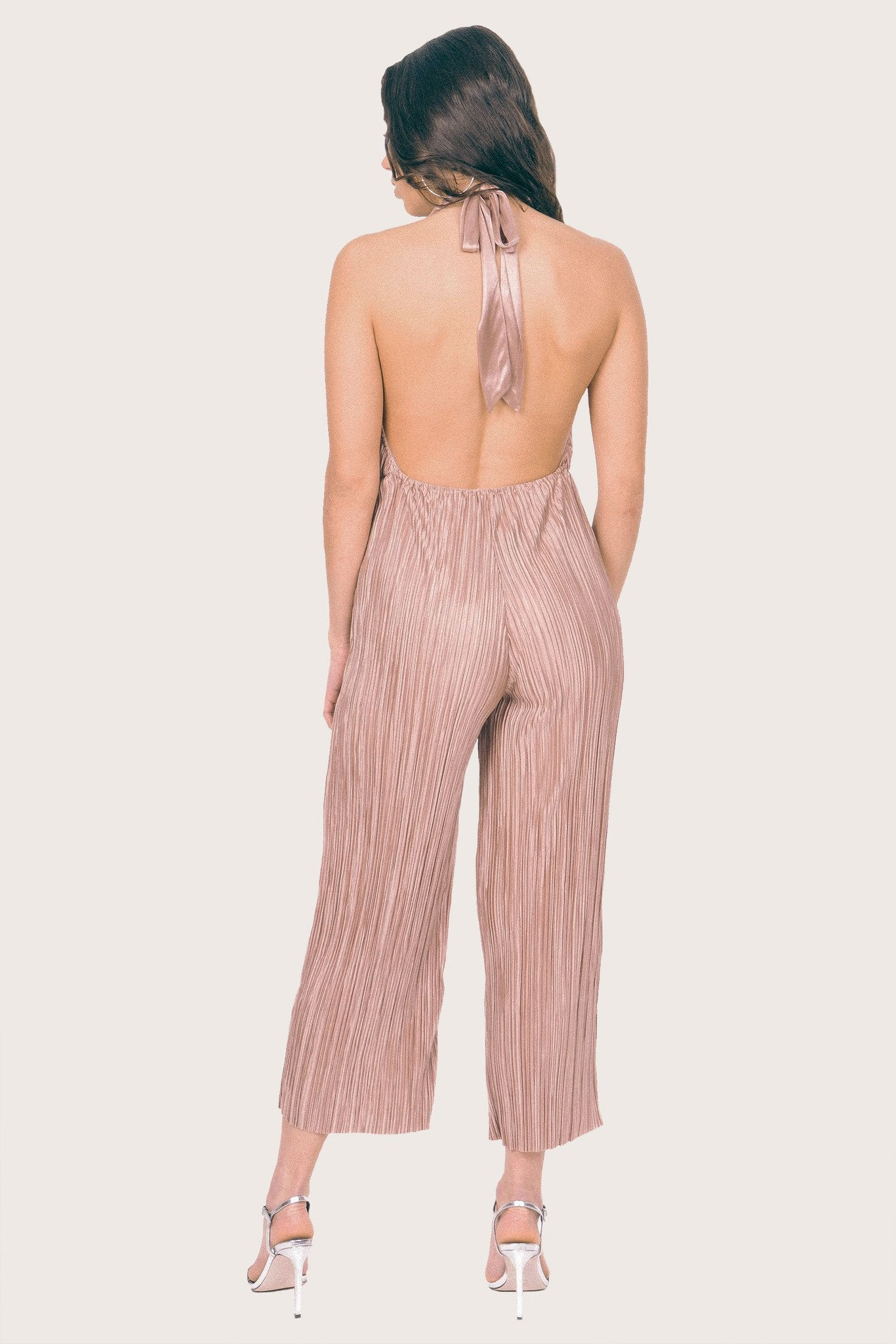 Shop Lola May Jumpsuit Lola May Rose Gold Plisse Jumpsuit Second Thread