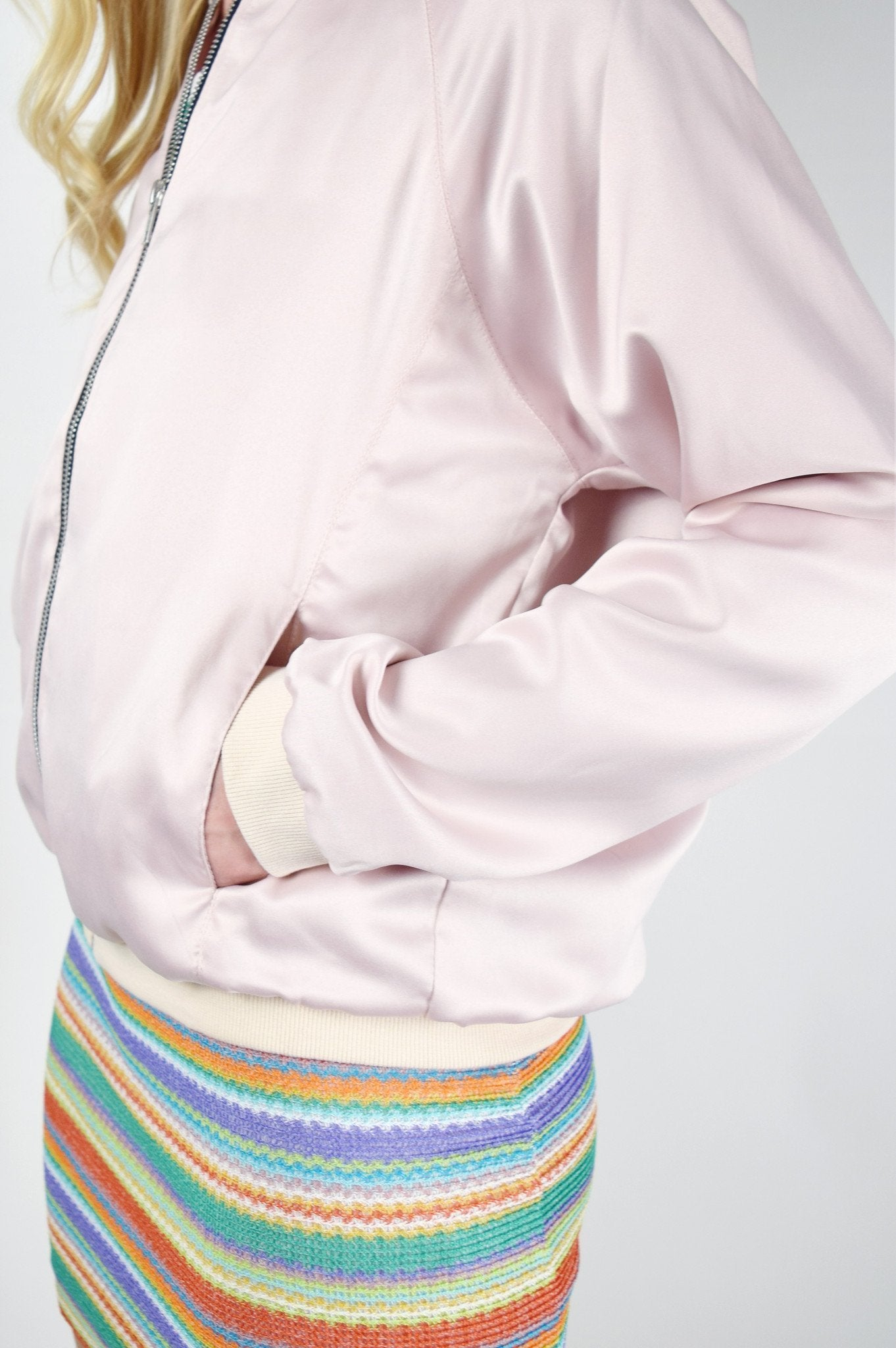 Shop Motel Bomber Jacket Motel Pink Luxe Satin Bomber Jacket Second Thread