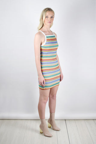 Shop Motel Dress Motel Zahora Rainbow Striped Mini Dress Second Thread