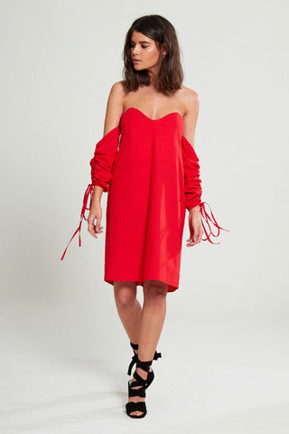 Shop Neon Rose Dress Neon Rose Red Sweetheart Bardot Dress Second Thread