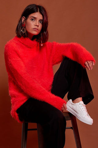 Shop Neon Rose Jumper Neon Rose Morange Fluffy Cocoon Jumper Second Thread