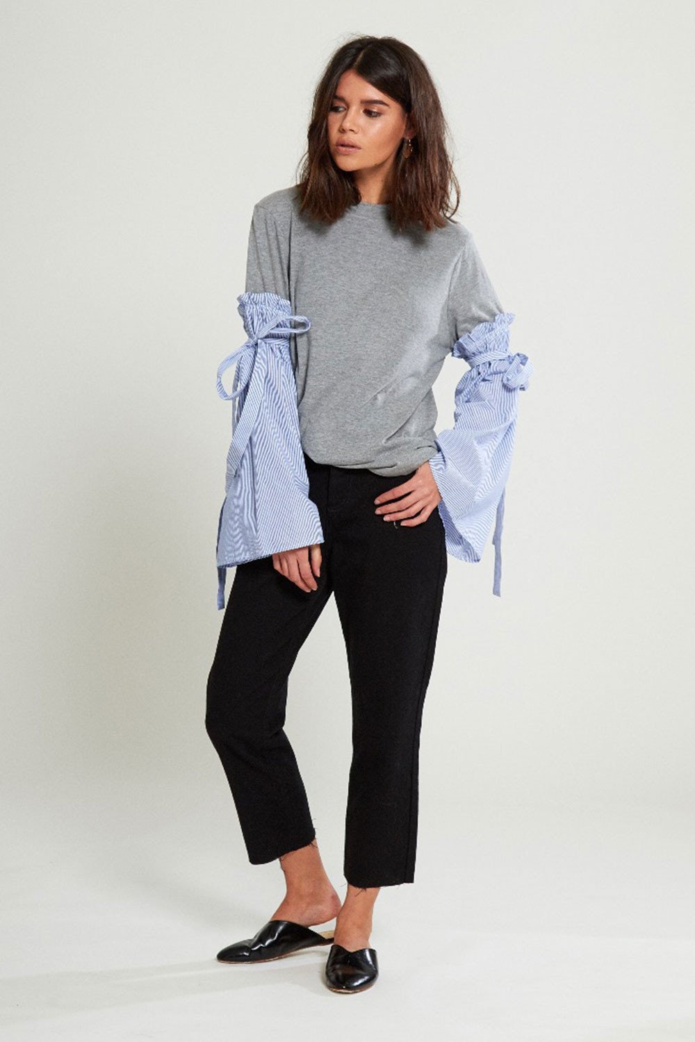 Shop Neon Rose Top Neon Rose Stripe Cotton Sleeve T-shirt Second Thread
