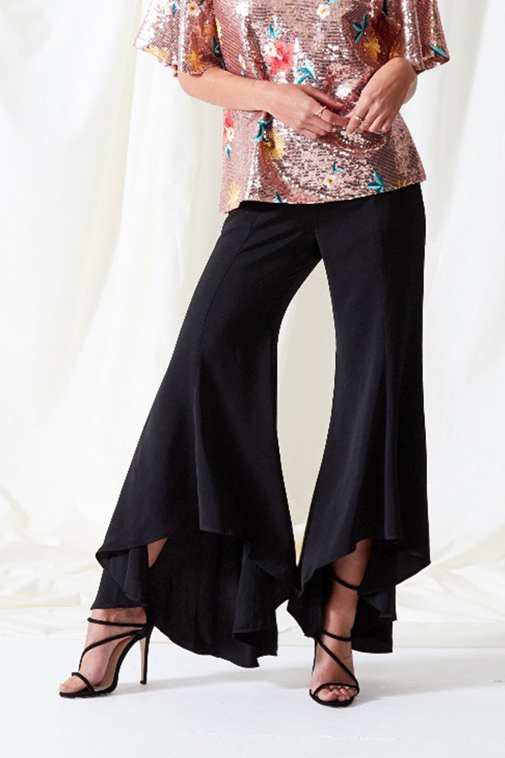 Shop Neon Rose Trousers Neon Rose Asymmetric Flared Trousers Second Thread