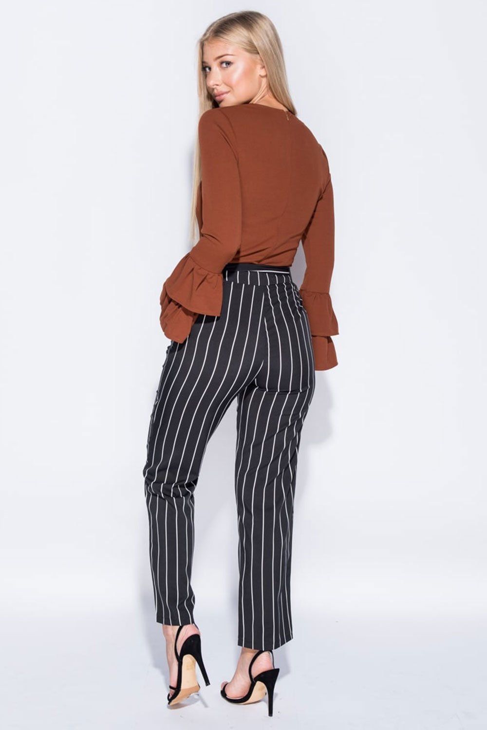 Shop Parisian Trousers Parisian Paperbag Waist Pin Stripe Trousers Second Thread