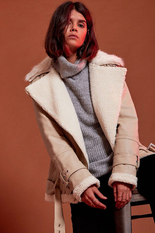 Shop Second Thread Coat Neon Rose Cream Faux Leather Aviator Jacket Second Thread