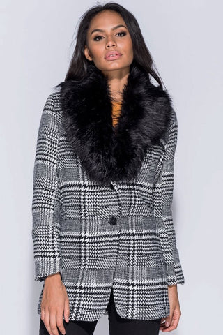 Shop Second Thread Jacket Parisian Checked Fur Collar Jacket Second Thread