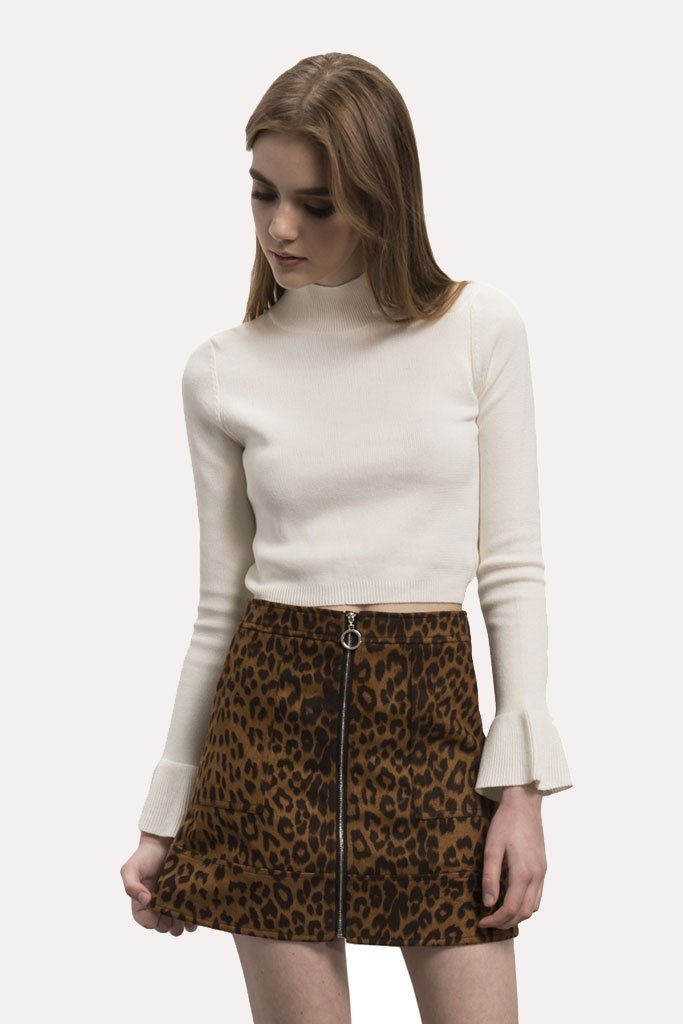 Shop Wyldr Skirt Wyldr Stranger Things Faux Suede Leopard Skirt Second Thread