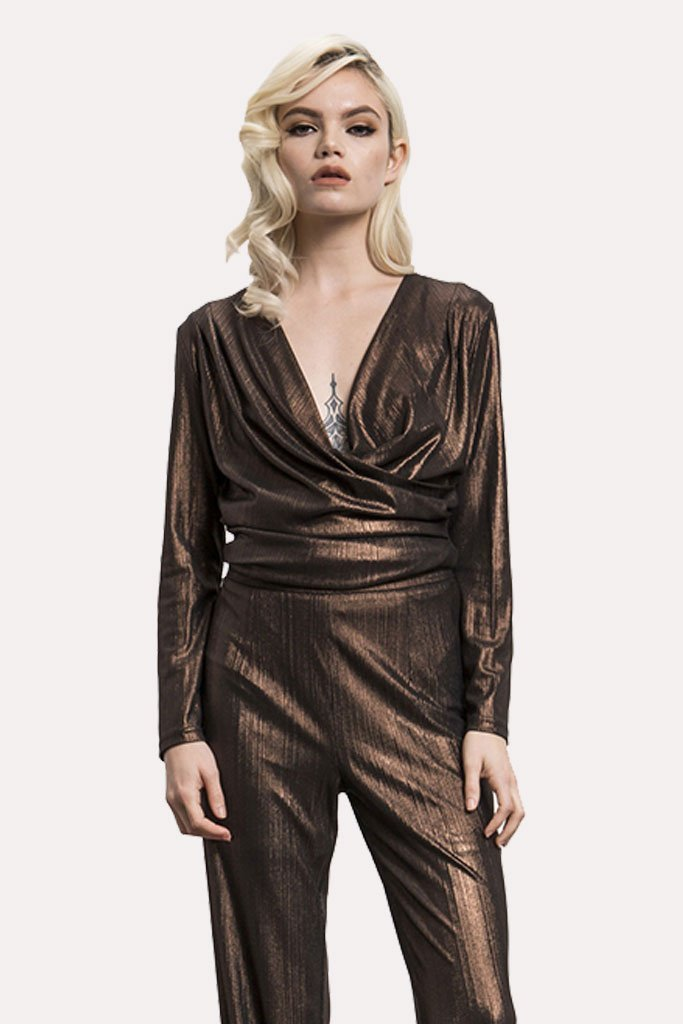 Shop Wyldr Top Wyldr Hey Lover Metallic Textured Wrap Top Second Thread