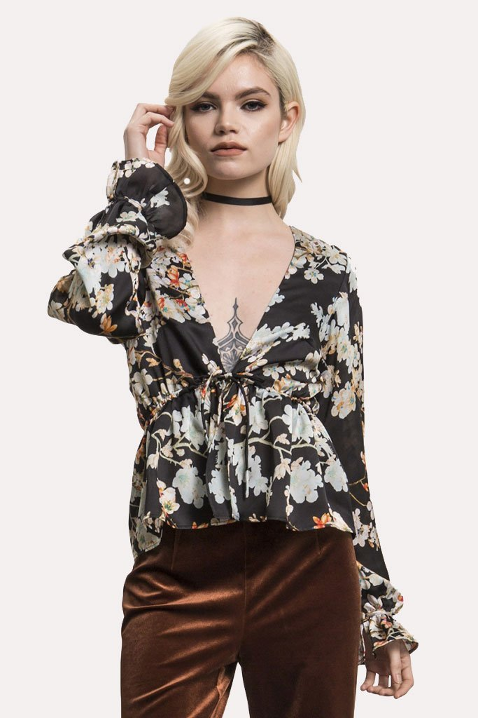 Shop Wyldr Wyldr Nevada Flower Printed Blouse With Tie Front Second Thread