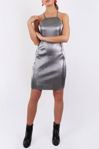 Lola May Silver Plisse Pleat Cami Dress
