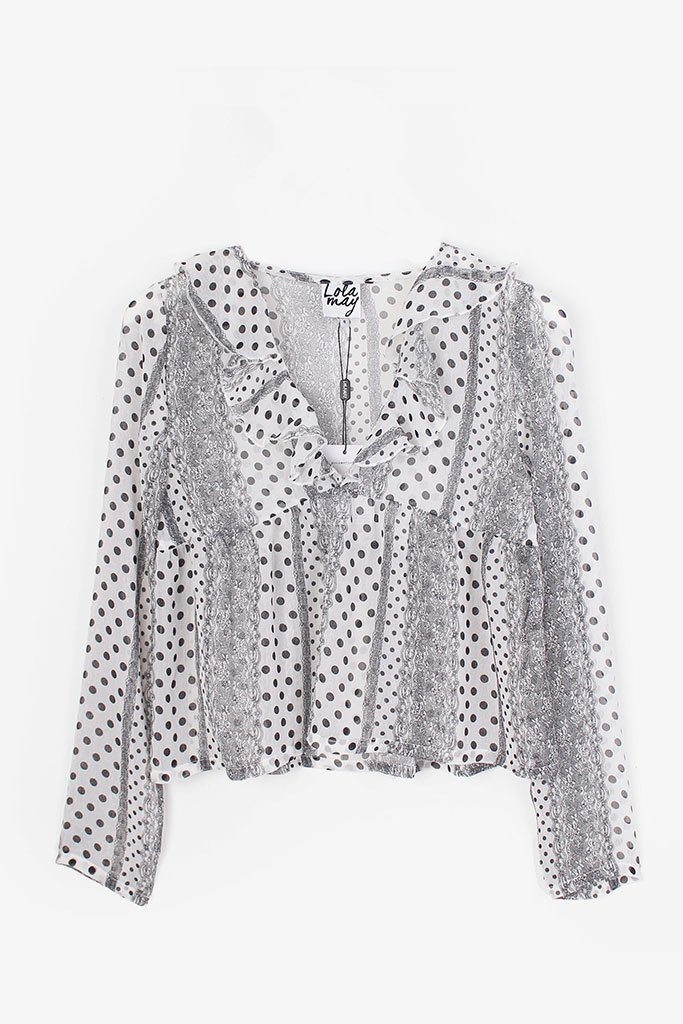 Lola May White Lace Spot Print Sheer Ruffle Blouse