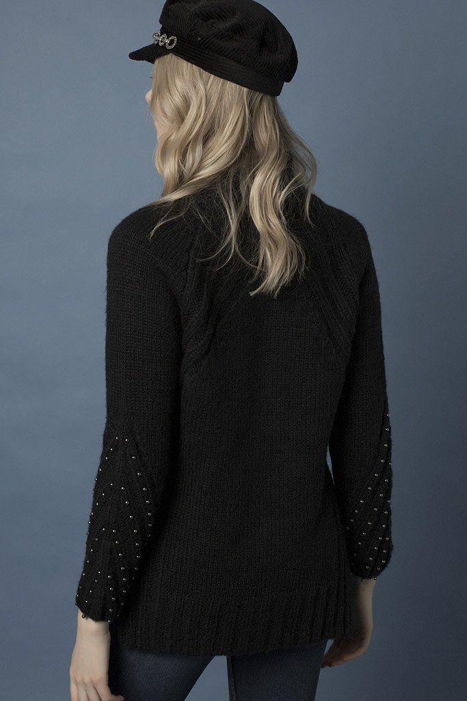 Goldie Starburst Black Chunky Knit Embellished Jumper