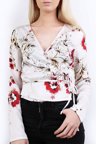 Lola May White Silky Floral Wrap Top