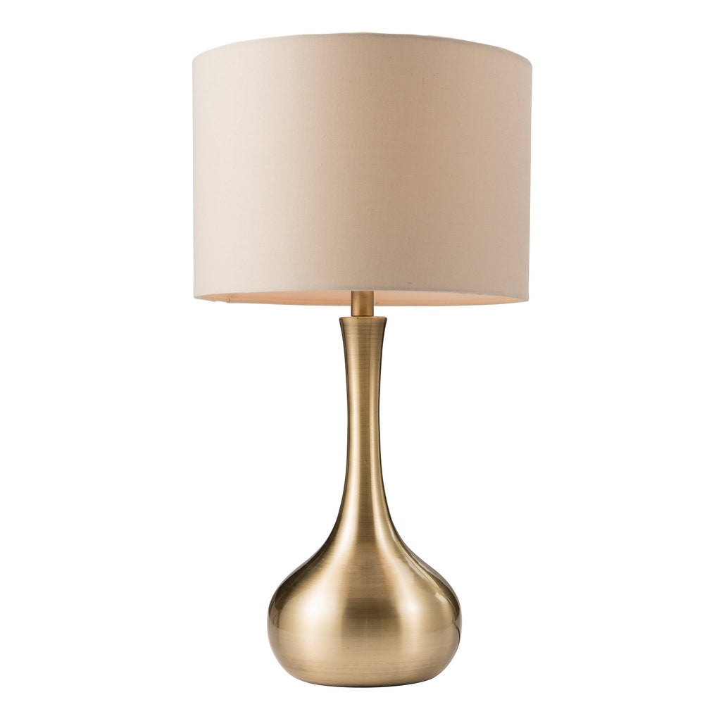Lola Table Lamp Brass & Taupe - Joal Interiors