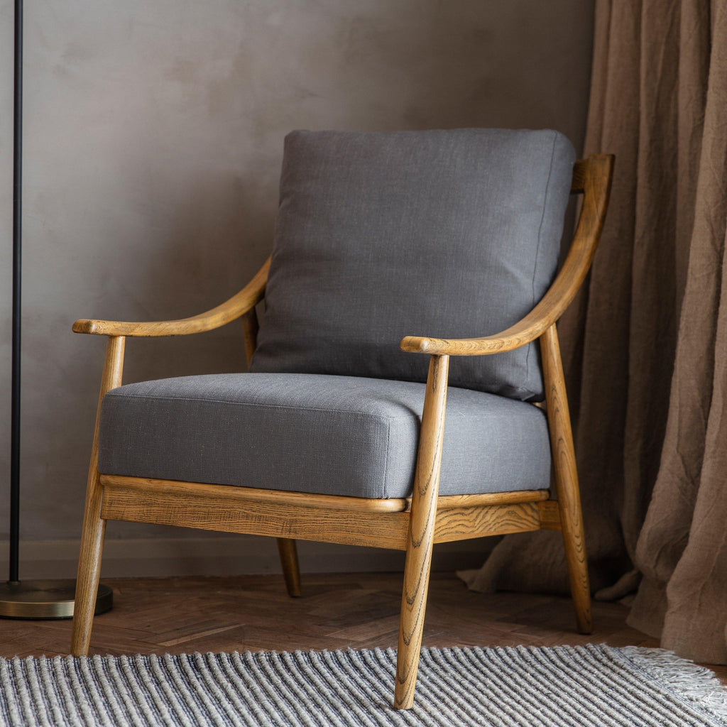 Sophia Armchair Dark Grey Linen - Joal Interiors