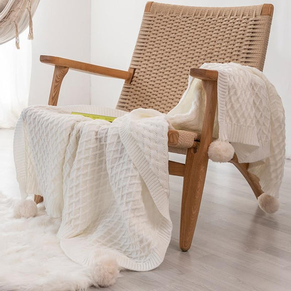 PomPom Knit Throw Blanket - Bohemian Glam Decor