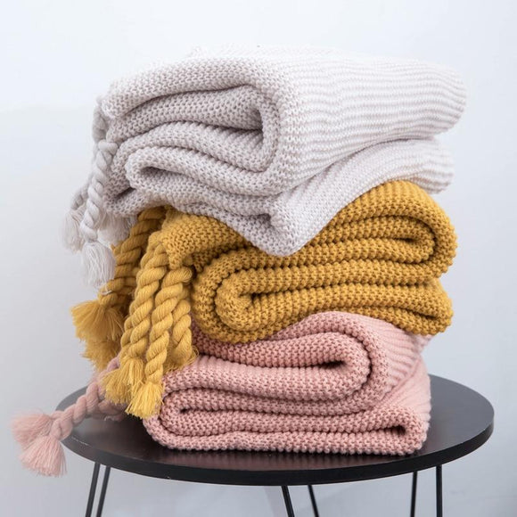 Rope Tassel Knit Throw Blanket - Bohemian Glam Decor