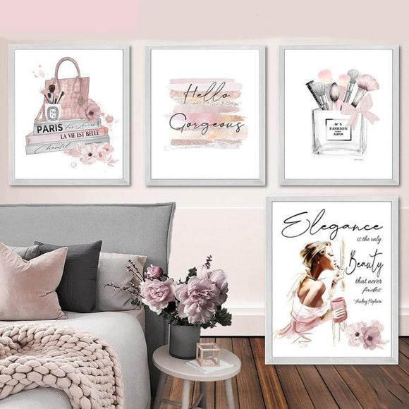 Fashion Poster Makeup Brushes Beauty Wall Art Fashion Books Prints Canvas Painting Pink Perfume Wall Pictures Girl Room Decor - Bohemian Glam Decor