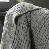 Classic Cable Knit Throw Blanket - Bohemian Glam Decor