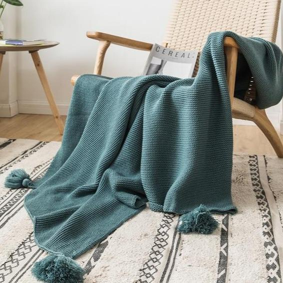 Classic Pompom Knit Throw Blanket - Bohemian Glam Decor