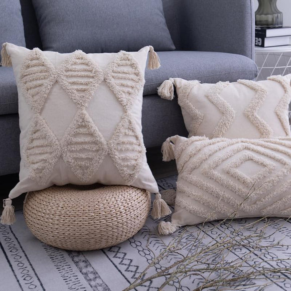 Natural Moroccan Tassel Pillow Covers - Bohemian Glam Decor