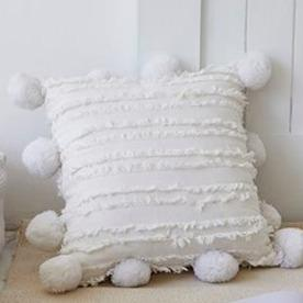 Oversized Pompom Pillow Cover - Bohemian Glam Decor