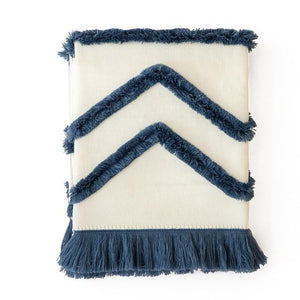 Contrast Fringe Throw Blanket - Bohemian Glam Decor