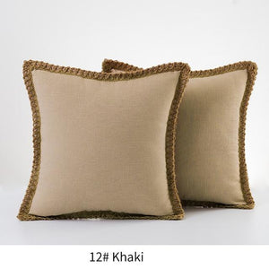 (Set of 2) Linen Cotton Pillow Cover with Hemp Fringe - Bohemian Glam Decor