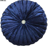 Round Velvet Jeweled Pillow - Bohemian Glam Decor