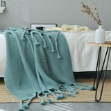 Rope Tassel Knit Throw Blanket