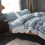 Washed Cotton Shabby Chic Ruffled Eyelet Blue & White Checker