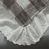 Washed Cotton Shabby Chic Ruffled Eyelet Gray & White Checker