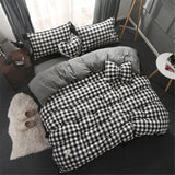 Washed Cotton Shabby Chic Ruffled Eyelet Black & White Checker