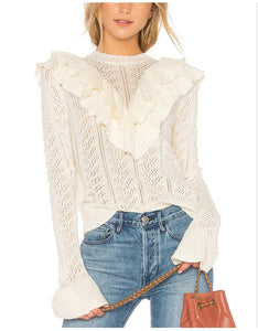 Ruffled Trim Flared Sleeve Pullover Sweater