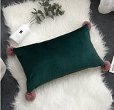 (10 Colors) Velvet Solid Lumbar Pillow COVERS ONLY with Wool Ball Corner Trim