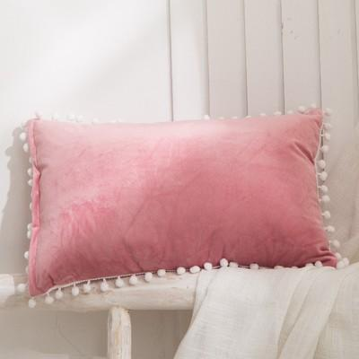 (9 Colors) Velvet Solid Lumbar Pillow COVERS ONLY with White Pompom Trim