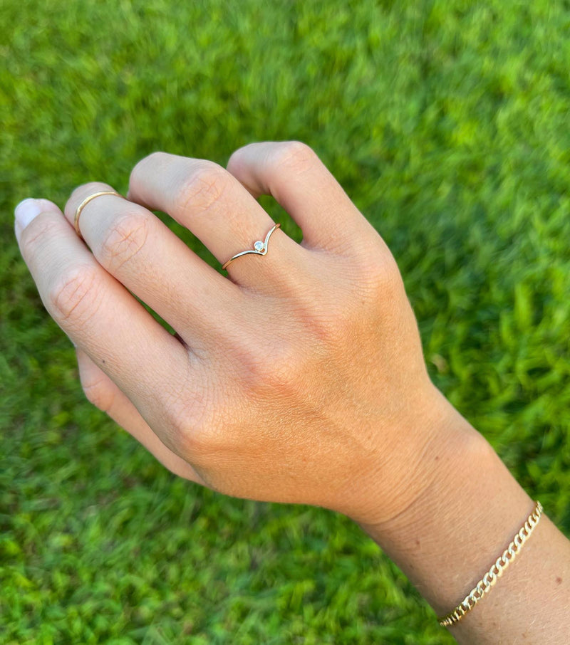 Gold Fill Chevron CZ Ring