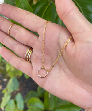 Gold Fill Circle Pendant Necklace