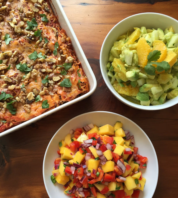 Black Bean Enchiladas with Mango Salsa and Avocado Salad