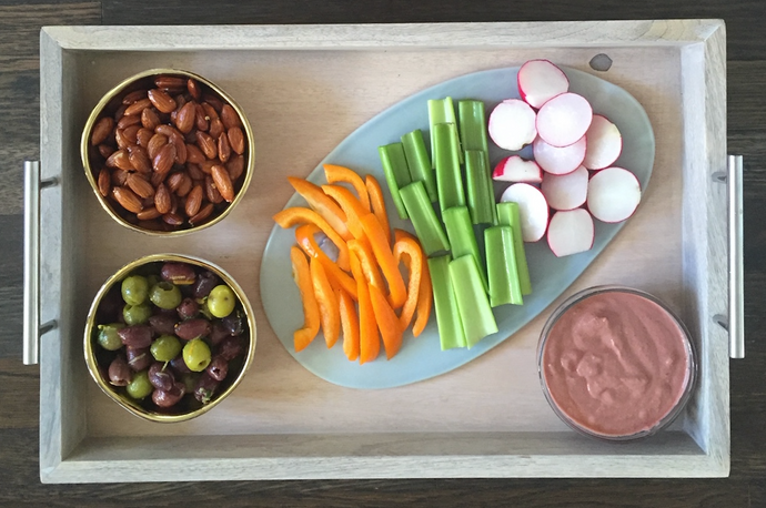 Rosemary Infused Almonds, Beet Hummus and Citrus Marinated Olives!