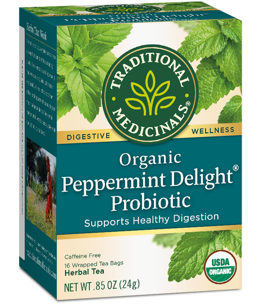 T.M TEA PEPPERMINT DELIGHT PROBIOTIC    6 PK X 16 TEA BAGS